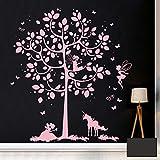 ilka parey wandtattoo-welt Wandtattoo Wandbild Wandaufkleber Wandsticker Aufkleber Sticker Baum mit Feen und Einhorn M2015 - ausgewählte Farbe: *dunkelgrau* ausgewählte Größe: *L - 88cm breit x 97cm hoch*