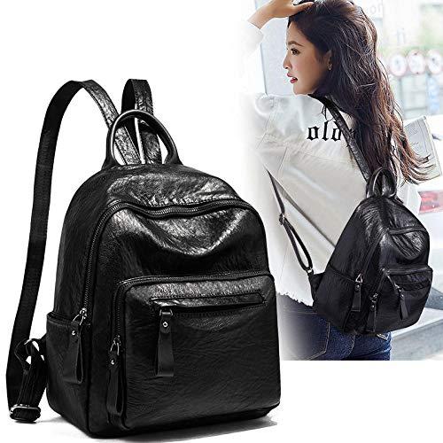 Fyyzg Rucksack weiblichen koreanischen Version der Flut 2018 Neue Wilde weiche Ledertasche Rucksack Mode lässig Reisetasche weiblich - schwarz_19 Zoll