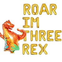 Roar I'm Three Rex Balloons,third Rex 3 Dinosaur Birthday Baby Boy Party Decorations Supplies