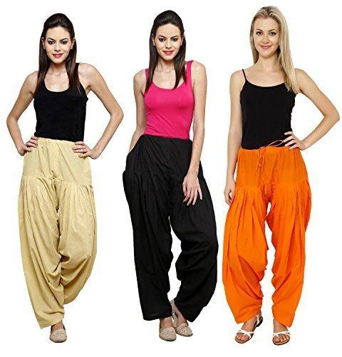 Fashion Store Women Cotton Patiala Salwar Combo Of 3 (Free Size, Orange & Skin & Black )