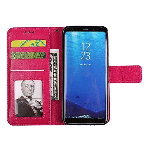 Galaxy S8 Plus Hülle, ESSTORE-EU Geprägt Mandala Blume PU-Leder und TPU Geldbörse,Kartensteckplatz,Stand Hülle für Samsung Galaxy S8 Plus (Schwarz) Rose Red
