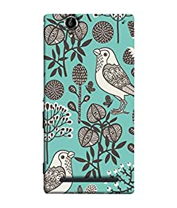 PrintVisa Designer Back Case Cover for Sony Xperia T2 Ultra :: Sony Xperia T2 Ultra Dual SIM D5322 :: Sony Xperia T2 Ultra XM50h (Drawings Pictures Birds Sparrows Flowers)