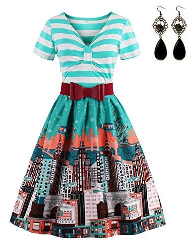Sitengle Damen Sommerkleid mit Gürtel Retro Blüte Drucken Gestreift  Partykleid Casualkleid color 1