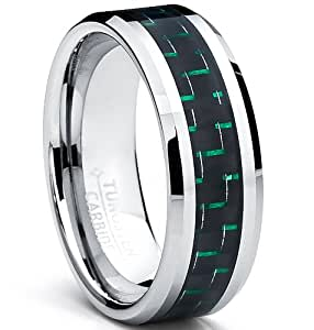 8MM Men's Tungsten Carbide Ring W/ BLACK & GREEN Carbon Fiber Inaly Size Z+1