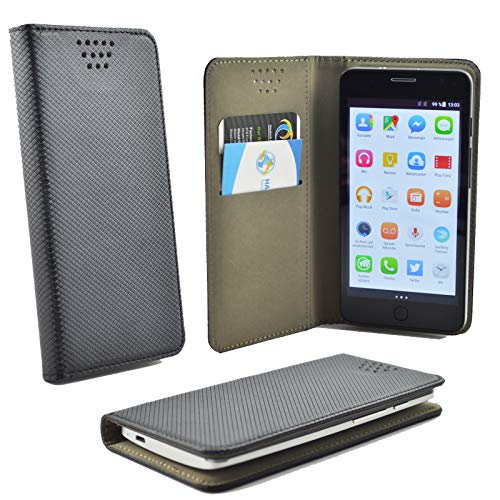 ikracase für MEDION Life E5020 Smartphone Handyhülle Schutzhülle Hülle Slide Kleber Case Cover Schutz Handy Tasche Cover Etui Schale - Schwarz
