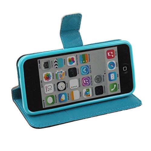 iPhone 5C Hülle,iPhone 5C Case [Perfect Fit], ISAKEN Zeichnung Drucken Bunte Muster PU Leder Flip Magnetverschluss Wallet Kreditkarte ID Card Slots Handy Hülle für Apple iPhone 5C, Tasche für Apple iP Nachthimmel