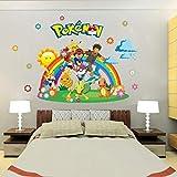 Hcxbb-f Wall Sticker, Pokemon Go for Kids Pièces Accueil Décorations Pikachu Stickers Muraux Amination Affiche De Mur d'art Fond D'écran Enfants, Autocollants, 88.4x61.2cm...