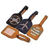 Fully 2x PU Leder Gepäck Anhänger Kofferanhänger Reisengepäck Adresse Name ID Tag Etikette Bezeichner Schlüsselanhänger (Mustern zufällig)