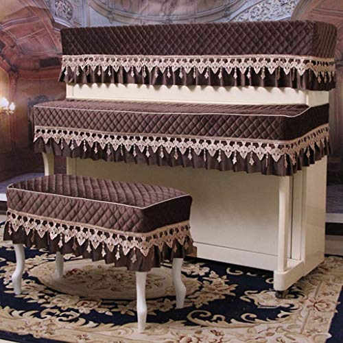 Cubierta para piano, tela de lujo europea, media sobrecama simple, tela de terciopelo dorado, sobrecubierta, cubierta para taburete (color : Color cafe-153 * 34 * 120+38 * 78)