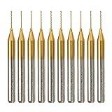 ChaRLes 10 Stücke 1/8 Zoll Schaft Wolfram Stahl Pcb Bohrer 0,4Mm Titan Coated Hartmetall Pcb Bohrer Set