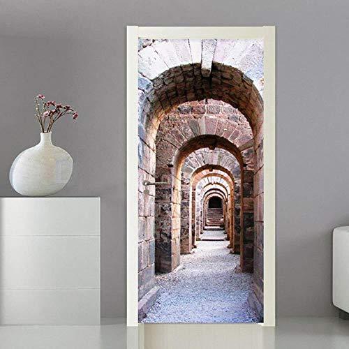QMTZDQ TürPoster Türtapete 3D Stereo Bogen Stein Kunst Dekoration Tür Aufkleber Tapete Wohnzimmer Küche PVC wasserdichte Wandbilder, 90x200 cm -