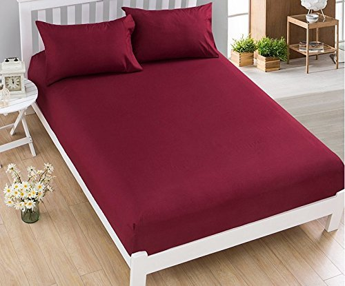 """Dream Care Waterproof Dustproof Terrycloth Cotton Mattress Protector for Queen Size Bed (Maroon, 78"""" x 60"""") Image 3"""