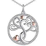 Clever - Juego de joyas para mujer con colgante de árbol de la vida, 25 mm de diámetro, con 3 corazones, bañado en oro rosa y cadena de 50 cm, plata de ley 925, regalo para el Día de la Madre
