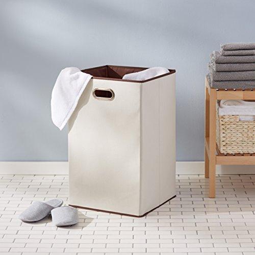 AmazonBasics Foldable Cotton Laundry Hamper, White