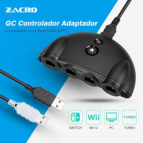 Zacro GameCube Adaptador de control para Switch, Wii U,  PC, Negro