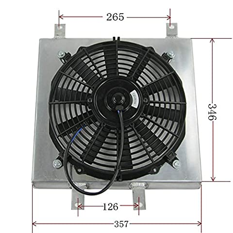 ALLOYWORKS Aluminium Kühler 12'' Tuch Ventilator für HONDA CIVIC / DEL SOL / INTEGRA DC Motor Kühlung Heizkörper