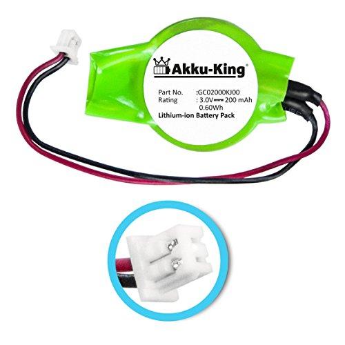 Akku-King Backup/CMOS Knopfzelle mit Stecker für Dell Alienware MX18, Dell Inspiron 9100, XPS M1720 - ersetzt GC02000KJ00 - Li-Ion 200mAh - Backup-batterie Hp Laptop Für