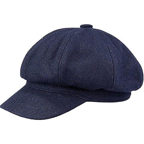 Kuyou Berretto con visiera Donna Inverno Cappello di lana, Taglia unica (Blu navy)