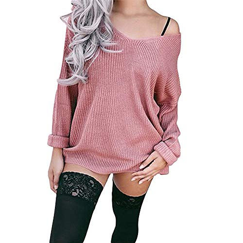 JiaMeng Casual Camisetas de Manga Larga Suéter Camiseta de Manga Larga Off Shoulder Shirt Casual Loose Two Tops y Cuello V Blusa Ligera Mangas Acampanadas para Mujer