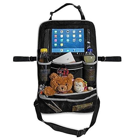 Organiseur de siège premium pour tablettes et iPad | Sac de siège spacieux pour les enfants | Organiseur de siège spacieux, pour jouets et ustensiles de voyage | Sac de rangement facile à laver
