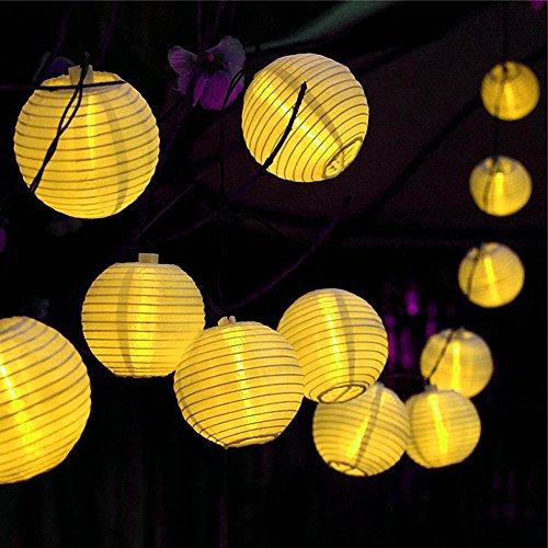 DEKOMORE 30 LEDs Lichterkette 6.35m Warmweiß Laterne Wasserdicht Lampions Dekoration für Garten, Terrasse, Hof, Haus, (Dekorationen Haus)