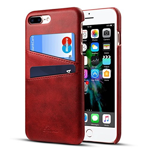 iPhone 8 Plus Case, iPhone 7 Plus Case Leather Card Slots Holder Slim Phone Wallet Cover By Rssviss For iPhone8 7 Plus- Red