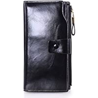 Yafeige Women's Leather Wallet With Zipper Pocket (Black)