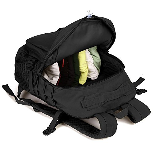 SUNVP Tactical Rucksack Military Assault Rucksack Molle Große wasserdichte Taschen zum Wandern Camping Trekking 40L Black