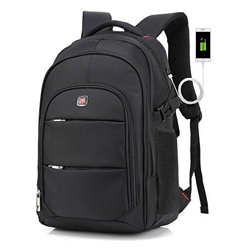 """Laptop Rucksack, RERI 15,6"""" Notebookruckasack, Rucksack mit USB für Computer, Schulrucksack Schwarz"""