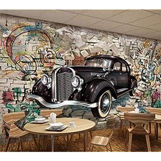 BXZGDJY 3D Wandbild [Selbstklebend] Wandhintergrund 3D Papier Klassiker Wandbild, Retro Wand Autostereo Bar Restaurant Wandbild Wandhintergrund Restaurant Tapete (B) 400X (H) 280 Cm | 8 Streifen