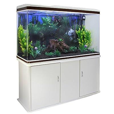 MonsterShop – Aquarium de 300 Litres, Kits et Accessoires de Démarrage, Plantes, Graviers, Meuble BLANC, d'une dimension totale de 143,5 cm de Haut x 120,5 cm de Large x 39 cm de Profondeur