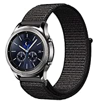 for Huawei watch GT/Galaxy Watch 46mm/ Amazfit pace&stratos bands, 22mm Nylon Sport Loop Hook Smartwatch Replacement Strap Bands with Adjustable Closure (Black)