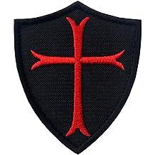 Caballeros Templarios Escudo cruzado Militar Moral Broche Bordado de Gancho y Parche de Velcro