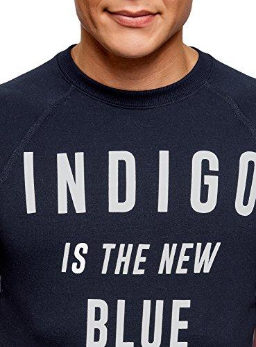 oodji Ultra Herren Baumwoll-T-Shirt mit Schriftzug Blau (7810P)