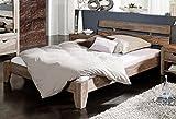 MASSIVMOEBEL24.DE Palisander Massivholz Bett 200x200 Sheesham Holz Möbel Nature Grey #213