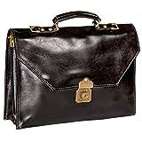 Aktentasche aus Leder abschließbar, Umhängetasche, Lehrertasche, Schultertasche, Schwarz
