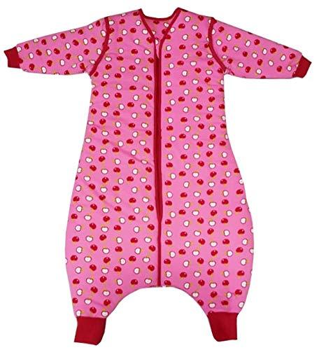Schlummersack Winterschlafsack mit Füßen in 3.5 Tog mit abnehmbaren Ärmeln für Mädchen- Äpfel - 12-18 Monate/80 cm