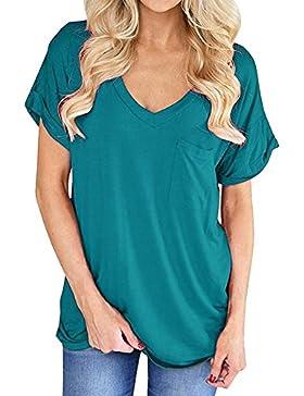Camiseta Mujer Manga Corta Verano Básico V-Cuello Casual Color Puro Camiseta de Manga Corta Tamaño Grande T-Shirt...