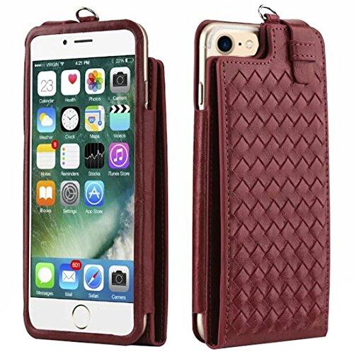 GHC Cases & Covers, für iPhone 7 & iPhone 6, Multi-Funktions-Handarbeit Stricken Textur Flip Leder Brieftasche mit Kartensteckplätzen & Lanyard für 4,7 Zoll ( Color : Dark blue ) Red