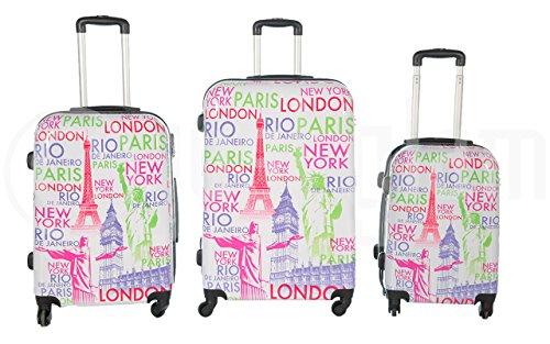 Set de 3 maletas rigidas 4 ruedas de policarbonato abs extremista ligero equipage pequeno de cabina art capitali