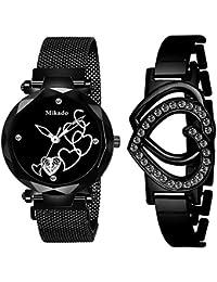 Mikado Black Heart Analog Watch for Women Watch and Bracelet Analog Watch - for Women