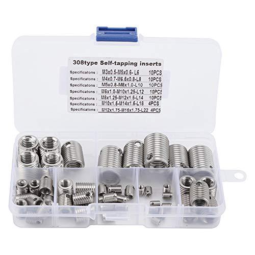 Preisvergleich Produktbild 58pcs 308 Edelstahl Innengewinde selbstschneidende Gewindeeinsätze Gewinde einstellen Repair Tool
