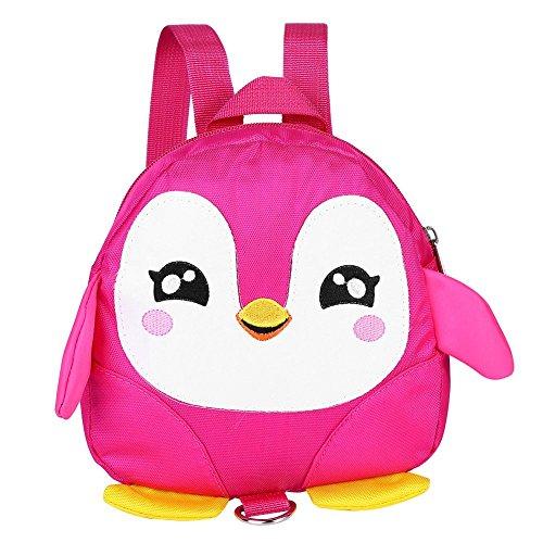 Zaino di sicurezza per bambini, Kids Toddlers Cartone animato di animali per bambini Penguin Anti-perso Schoolbag con guinzaglio di sicurezza per bambini 1-3 anni Ragazzini(rosa)