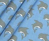 0,5m Stoff Baumwolle Maritime Delfine - türkis