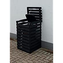 Mülltonnenbox VARIO 4 schwarz 1 Tonne FSC Holz Verkleidung Mülltonnenverkleidung