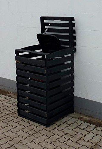*Mülltonnenbox VARIO 4 schwarz 1 Tonne FSC Holz Verkleidung Mülltonnenverkleidung*
