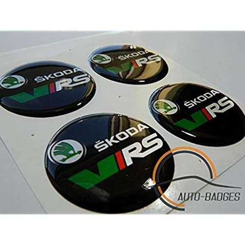 X4 Skoda VRS rueda Center Hub Cap insignias 50 mm
