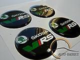 SKODA VRS Satz von 4 Kunststoff Emblem selbstklebende Abzeichen 50mm gelten für Nabenabdeckungen