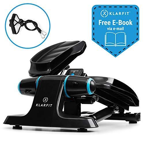 Klarfit Galaxy Step Ministepper mit Power Ropes Fitness-Stepper Up-Down-Stepper für Anfänger & Fortgeschrittene (LCD-Display, bis 120 kg, inkl. Fitness eBook) schwarz-blau