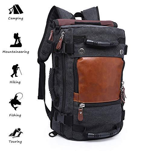 KAKA Wandern Rucksack, Leinwand Rucksack Laptop Rucksack 55L Große Kapazität Outdoor Reisetasche Wandern Camping Rucksack Umhängetasche Handtasche (Black)